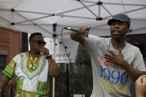 Jarobi White of A Tribe Called Quest (left) and Dinco D from Leaders of the New School perform at TAMA Summefest