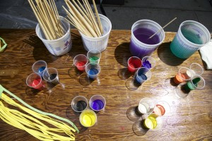 Supplies used by kids to create art during the festival