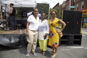 (from left) Tremaine Wright, Community Board 3 chair and owner of Common Grounds cafe; Assemblymember Annette Robinson; Yvette Buckner, Director of Community Engagement at Bridge Street Development Corp.